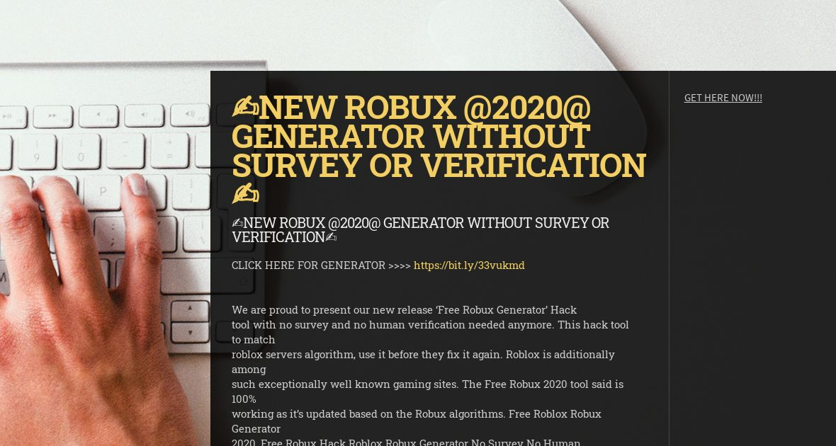 Robux Generator No Verification 2020