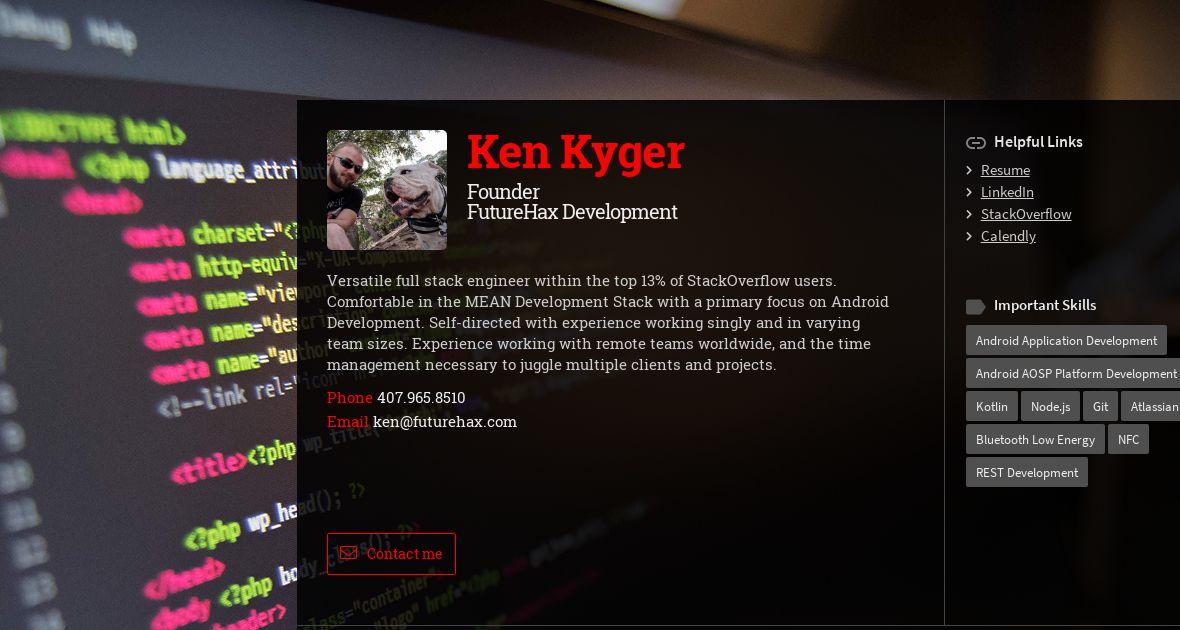 Ken Kyger, Founder at FutureHax Development | WiseIntro Portfolio