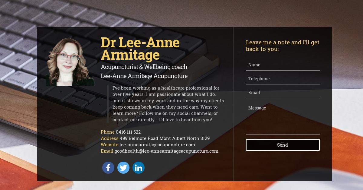 Dr Lee-Anne Armitage, Acupuncturist & Wellbeing coach at Lee