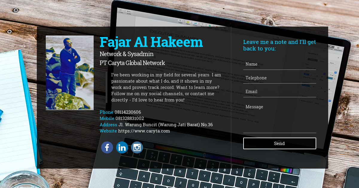 Fajar Al Hakeem, Network & Sysadmin at PT Caryta Global