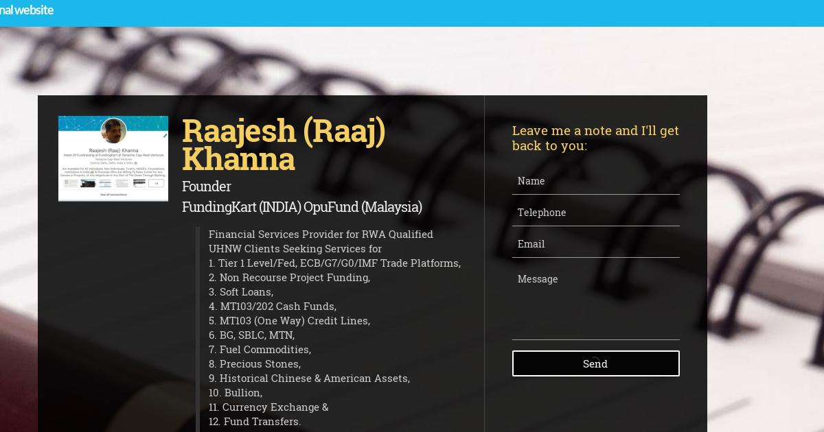 Raaj Khanna, Founder, C O O , Global Exe  Dir  Inake & Compliance at