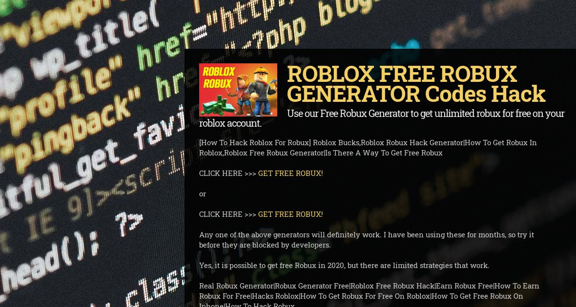 Get Free Robux Hack Roblox Robux Generator For 2020