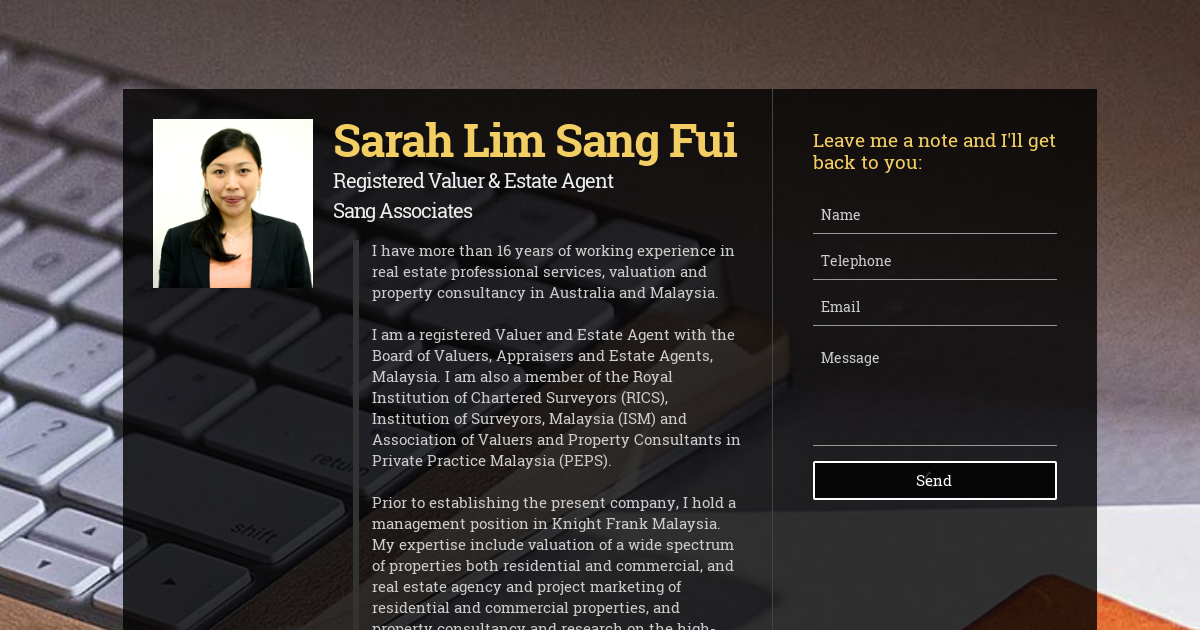 Sarah Lim Sang Fui, Registered Valuer & Estate Agent at Sang