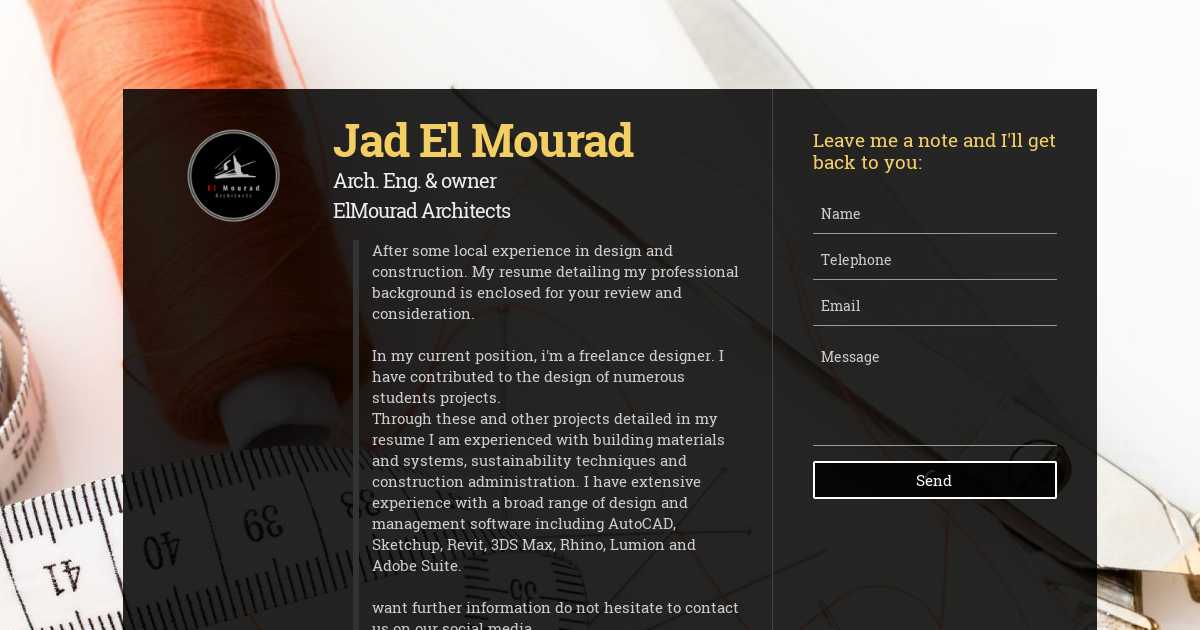 Jad El Mourad, Arch  Eng  & owner at ElMourad Architects