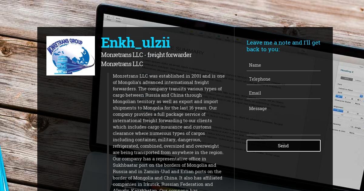 Enkh_ulzii, Monretrans LLC - freight forwarder at Monretrans LLC